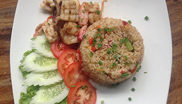 It's yummy. Thai fried rice with seafood